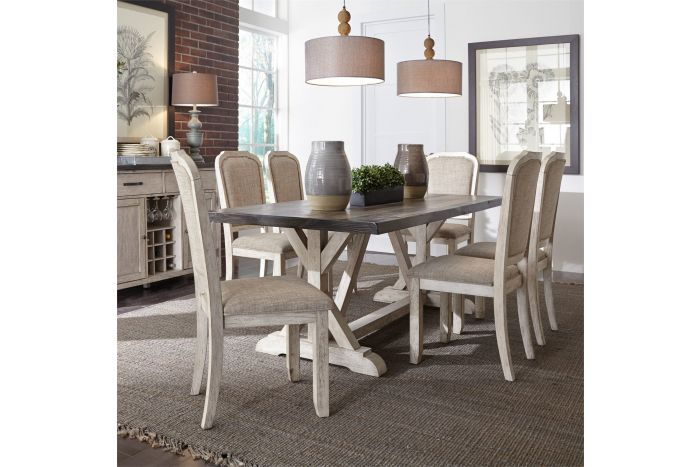 Willowrun 7 Pc Trestle Table Set