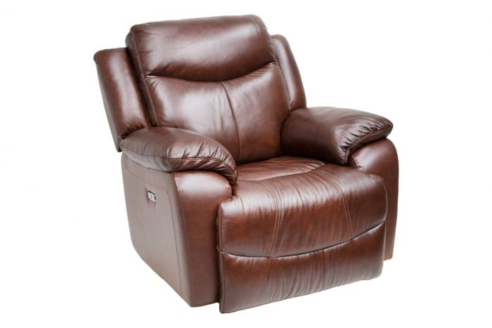 Davenport Leather Power Recliner with Power Headrest