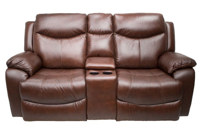 Davenport Leather Power Console Recl Loveseat-Power Headrests