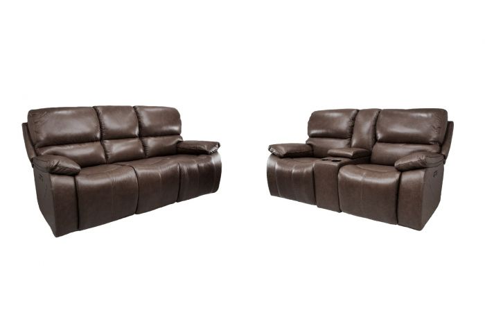 Waynesboro Leather Power Reclining Sofa & Loveseat with Adjustable Headrests