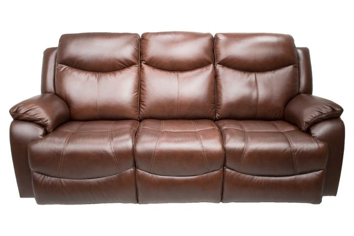 Davenport Leather Power Reclining Sofa With Power Headrests